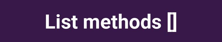 Métodos de lista en Pyhon
